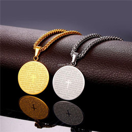 Wholesale Cross Medals - Spanish Bible Cross Necklaces & Pendants Gold Color Stainless Steel Round Holy Scripture Trump Medal For Women Men Gift P809