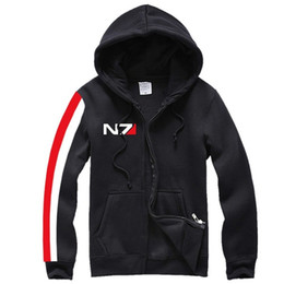 Wholesale Mass Effect Hoodie - Kukucos N7 MASS EFFECT Unisex Sweatshirt Outwear Cosplay Costume Hoodie Top Coat Jacket Sportsuit Short Hoody