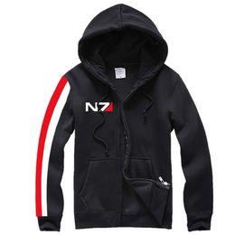 Масса эффект куртка n7 онлайн-Kukucos N7 MASS EFFECT мужская толстовка верхняя одежда косплей костюм толстовка пальто куртка спортивный костюм короткий капюшон