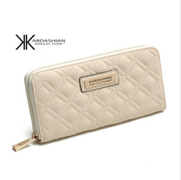 Wholesale Long Satin Bags - Wholesale-2 colors KIM Kardashian kollection long design women's wallet KK clutch bags wallet women long design fashion women's