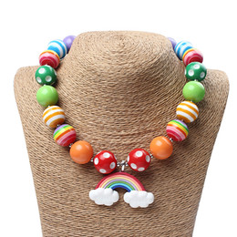 Wholesale Wholesale Chunky Little Girl Necklaces - Rainbow Baby Girls Chunky Bubblegum beads Necklace,Baby Jewelry Toddler Necklace,Little Girl Birthday Necklace