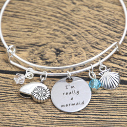 Meerjungfrau armband armband online-12pcs kleine Meerjungfrau inspiriert Armband ich bin wirklich eine Meerjungfrau Silber farbigen Kristall für Frauen oder Mädchen Armreifen