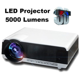 Wholesale Lcd Tv Lamp - Wholesale-Cheaper New 5000Lumens RGB lamp 1080P HD Multimedia LED LCD projecteur Home Theater Projectors High contrast 5000:1 with HDMI TV
