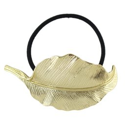 Wholesale Metal Rubber Band Hair - Hot Punk Style Hairwear Black Elastic Rope Gold Metal Leaf Headbands Hair Jewelry for Fashion Lady