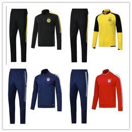 Wholesale Top Set Pants - TOP quality 2017 2018 B M CLUB DORT jacket WITH PANTS 17 18 VIDAL COATA LEWANDOWSKI MULLER ROBBEN ALABA tracksuit football JACKET SET