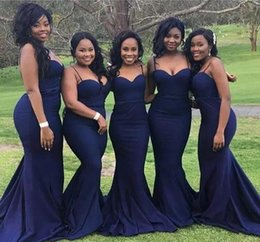 Wholesale Girls Bridesmaid Dresses Cheap - Elegan Navy Blue Bridesmaid Dresses Cheap Straps With Sweetheart Neck Plus Size Long Formal Gowns for African Black Girls Custom Made