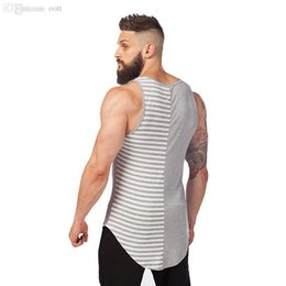 Wholesale Mens Xl Tank Tops - Wholesale-Gym Clothing Stripe Singlets Fitness Mens Tank Top Proffessional Bodybuilding Stringer Vest Tops Fashion Sport Brand Shirt Men
