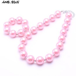 Wholesale pink pearl necklace set - MHS.SUN Baby Pink Pearl Kid Chunky Necklace&Bracelet Set Lovely Children Girl Toddler Bubblegum Chunky Bead Necklace Jewelry Set
