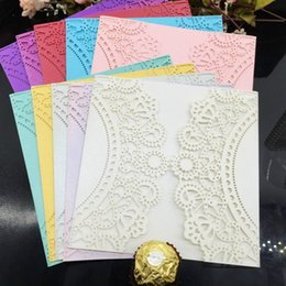 Wholesale Invitation Letter Party - Wholesale- 2016 30pcs lot Wedding Party Birthday Invitations Card Hollow Invitation Gift Envelope Paper Postcard letter DIY Envelope 7JJ101