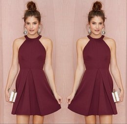 Wholesale Short Ruffle Homecoming Dresses - Sexy Short Burgundy Homecoming Party Dresses 2017 Halter Backless A Line Above Knee Length Prom Gowns Custom Made Girls Cocktail Dress