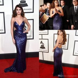 Wholesale Selena Gomez Beaded Dresses - Selena Gomez Spaghetti Strap Sequins Celebrity Evening Dresses Cutaway Sides Mermaid Prom Gowns Sweep Train 58th Grammys Awards