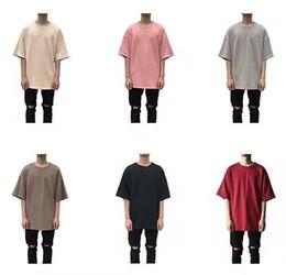 Wholesale woman white plain shirt - new kpop mens fashion urban hip hop clothing 8color plain t shirt women chemise homme justin bieber kanye west oversized
