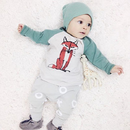 Wholesale High Quality Baby Clothes Wholesale - Wholesale- Newborn clothing set 2015 3pcs Baby Boys Girls Fox Top+Pants+Hat Set Newborn Infant Cotton Romper baby boy clothes High Quality