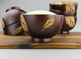 Wholesale Wholesale Japanese Rice Bowls - 1PC Japanese Jujube Wood Bowl Pure Color Unbreakable CHinese Style Rice Soup Fruit Bowl Kitchen Utensil Tableware LC 010