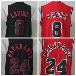 Wholesale Basketball Pick - 2017 Newest Draft Pick Men's #24 Lauri Markkanen #8 Zach LaVine Jersey Black Red All Stitched Basketball Jersey S-XXL
