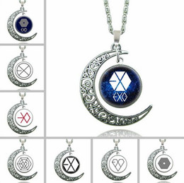 Wholesale Exo Chain - Brand new Breaking Star Sky Moon Time Gem EXO Necklace WFN174 (with chain) mix order 20 pieces a lot