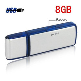 Wholesale 8gb Usb Flash Drive Wholesale - 2 in 1 4GB 8GB USB Disk digital Voice Recorder Dictaphone Pen USB Flash Drive audio recorder in retail package dropshipping 50pcs lot