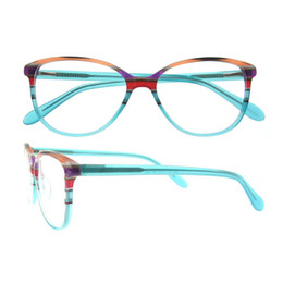 Wholesale Luxury Fashion Eyeglass Frame Brands - No MOQ Colorful Rainbow Stripe Full-rim Acetate Spring Hinge High Quality Luxury Brand Female Prescription Eyeglasses