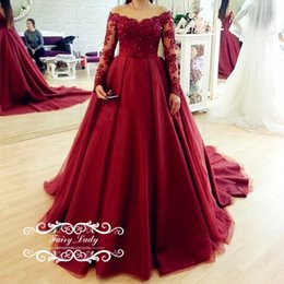 Wholesale Cheap Modern Flower Girl Dresses - Cheap Red Off Shoulder 2018 Quinceanera Dresses With Long Sleeves Appliques Beading Sheer Ball Gown Girls Sweet 16 Dress Birthday Prom Gowns