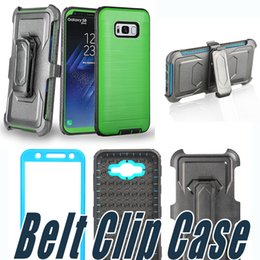 Wholesale Green Light Fittings - Brushed Dual Layered Defender Armor Case With Front Screen and Belt Clip Cover For iPhone X 8 7 6 Plus Samsung S7 edge S8 S9 Plus Note 8