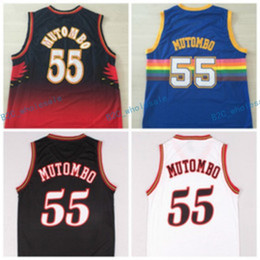 Wholesale Shirt Black Blue White - Hot 55 Dikembe Mutombo Jersey Sale Fashion All Star Throwback Dikembe Mutombo Shirt Uniform Team Red Blue White Black Best Quality