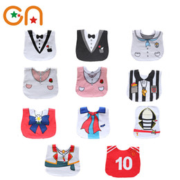 Wholesale Bib Baby Dress - Wholesale- Free shipping Infant Saliva Towels Newborn baby Dress shape cotton Burp Cloths Girl Casual bibs Boy bib aprons Fit 0-3 years CN