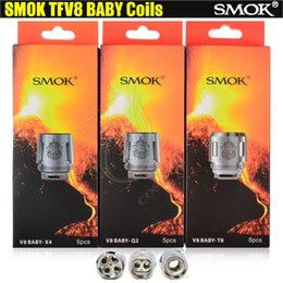 Wholesale Coils Cores - SMOK TFV8 Baby Coil Head Replacment T8 0.15ohm T6 0.2ohm X4 0.15ohm Q2 0.4ohm core Smoktech TFV8 Beast V8 RDA Tank Atomizers clone coils DHL