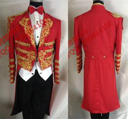 Wholesale Dovetail Dresses - 2017 male Red blue magic long jacket party wedding groom blazer prom royal tuxedo formal dress pigeon magic dovetail singer dancer