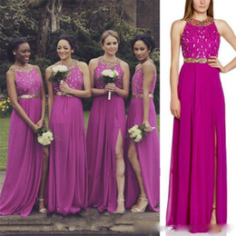 Wholesale Greek Backless Dress - Greek Fuschia Split Slit Bridesmaid Dresses Stones Beaded Pearls Long Junior Maids of Honor Plus Size Chiffon Wedding Guest Gowns