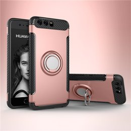 Wholesale Iphone Layer - Defender Armor Case Hybrid Dual Layer With Ring Kickstand Magnetic On Car Holder For iPhone X 8 7 6 6s Plus 5 5S SE Galaxy S8 S8+ J7