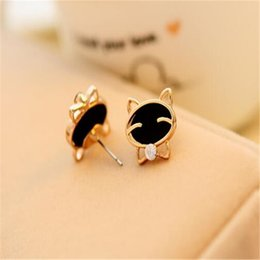 Wholesale Cat Crystal Stud Earrings Gold - Smiling Cat Earrings Fashion Cute Diamond Stud Earring DHL Charm Jewelry Wedding Ornament Christmas Gift Decoration Free Shipping
