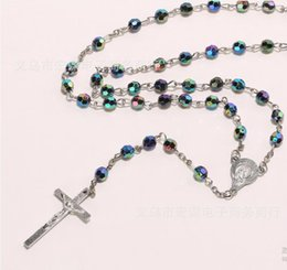 Wholesale Wholesale Religious Rosaries - DHL free wholesale Fashion Jewelry rosin 6mm ABS Fashion Religious Necklace Simulated Pearl Beads Rosary Necklace Cross