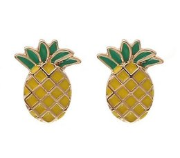 Wholesale Ear Painting - Chic Ladies Girls Stud Earrings 18K Gold Tone Painting Pineapple Ear Stud Earrings Ear Pins Fashion Jewelry