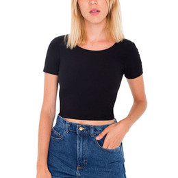 Wholesale Basic Tee Crop Top - Wholesale- Fashion Women O Neck Sexy Crop Top Ladies Short Sleeve T Shirt Tee Short T-shirt Basic Stretch Black T-shirts