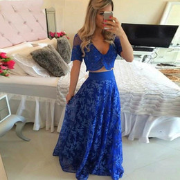 Wholesale Cheap Silk Patterned Dresses - Sexy Long Royal Blue Two Piece Prom Dresses 2017 Cap Sleeve Sheer Illusion Bodice Cheap Long Prom Party Gowns Formal Dress Custom Made
