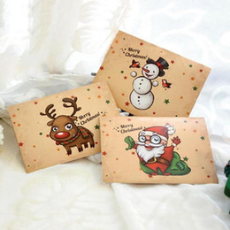 Wholesale Christmas Envelope Stickers - Wholesale-Merry Christmas Vintage greeting Cards+Envelope+Stickers in one set greeting card postcard kraft envelope festival gift F2-89L