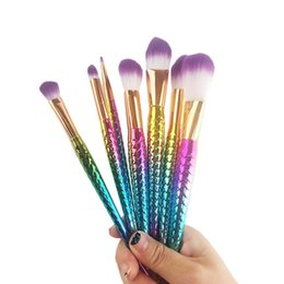 Wholesale Faces Brushes - 7pcs set Mermaid Brush Spiral Makeup Brush Set Cream Face Power Brushes Multipurpose Beauty Cosmetic Rainbow Brush OPP Bag 2805102