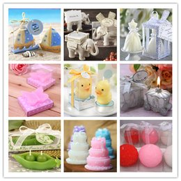 Wholesale Tapered Dresses - Sailboat candle Creative wedding favor Party gift Elephant Wedding dress Butterfly Duck Carriage Pea Cake Rose candle #021