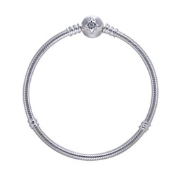 Wholesale Vintage Sterling Chain - 2017 Autumn Style Authentic 925-Sterling-Silver Moment Silver Bracelet With Starry Sky Clasp For Women Vintage Gift