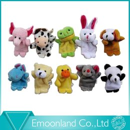 Wholesale Hand Puppet Plush Doll Children - Wholesale- 10pcs Cartoon family animal finger toy   doll baby mini lovely soft hand puppets plush dolls kid child boys girls gift