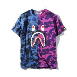 Wholesale Women Camo Shorts - 2018 Hot Blue Purple Shark Camo Stitching T-shirt Men Women Crew Neck Cotton Cotton Printed Short Sleeved T-shirts Sizes M-2XL