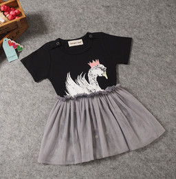 Wholesale Europe Long Ponchos - Summer Europe and the United States children's clothing new swan conjoined clothing baby models triangular poncho skirt climbing children's
