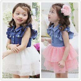 Wholesale Hot Christmas Mini Skirt - New Designer Baby Girl Denim Gauzy Dress Toddler Girls Tutu Dresses 2017 Hot Summer Baby Fashion Princess Dresses infant skirt Stylish CK610