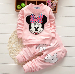Wholesale Leopard Pants For Babies - Children mickey outfits toddler baby girls boys 2pcs clothes set long sleeve cartoon T-shirt+pants suit for kids wholesale DHL free ZJ-70
