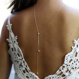 Wholesale Trendy Sexy Dresses Wholesale - Sexy Womens Back Body Chain Faux Pearl Gold  Silver Filled Back Necklaces Wedding Dress Necklaces