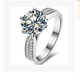 Wholesale Diamond Ring 3ct - High Quality Brilliant New Round Multi Zircon Diamond 3CT Six Claw Ring Fashion Wedding Or Engagement Ring Royal Court Style