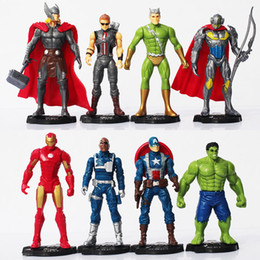 Wholesale Iron Children - 8pcs set The Avengers Age of Ultron Iron Man Ultron Nick Fury Hulk Captain America Action Figure Toys Christmas Gift for children