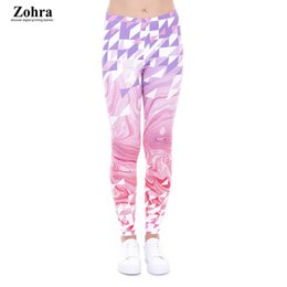 Wholesale Plump Plus Size - Zohra Fashion Large Size Leggings Triangles Pink Marble Printed Leggins Plus Size Trousers Stretch Pants For Plump Women