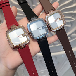 2019 marcas de relógios de senhoras famosas 2018 Quadrado de discagem Nova Marca de Moda Feminina Vestido Feminino Relógio famoso Casual Couro Genuíno Relogio feminino Senhora de Luxo de Quartzo Relógio De Pulso marcas de relógios de senhoras famosas barato