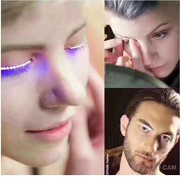 2017 Lâmpada LED Cílios Postiços Luminosos Olhos Partido Boate Moda Halloween LED Tiras Etiqueta Dos Cílios Falsos Postado de Fornecedores de óculos de qualidade